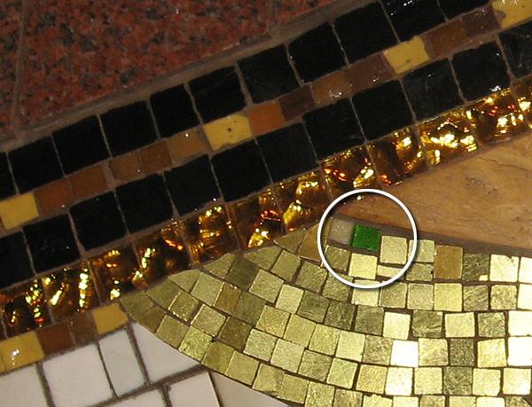 Emerald tile in Land pavilion mosaic mural